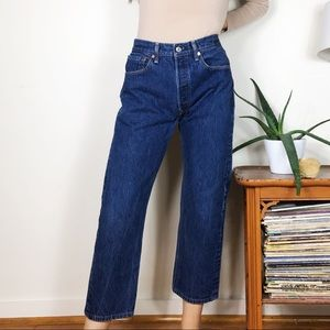 LEVIS 501 Straight Fit Blue Jeans Cropped